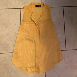 a.n.a. 100% polyester sheer yellow button down